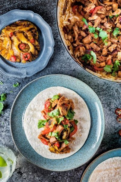 9 amazing Vegetarian Jackfruit Recipes & Ideas - Sweet & Savory Jackfruit Eats to discover! www.MasalaHerb.com - Vegan Jackfruit 'pulled pork' tacos with grilled pineapple by supergoldenbakes.com