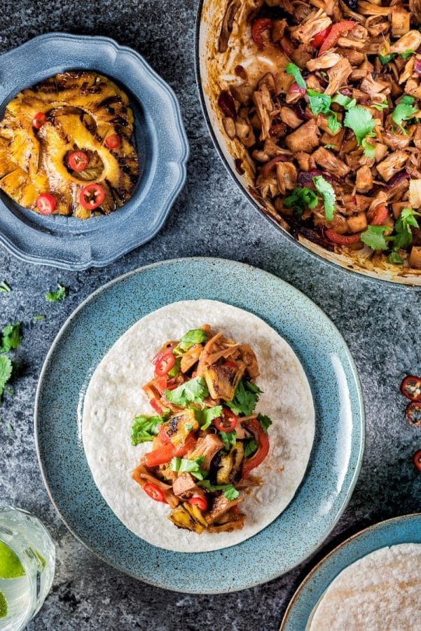 Vegan Jackfruit 'Pulled Pork' Tacos with grilled Pineapple
