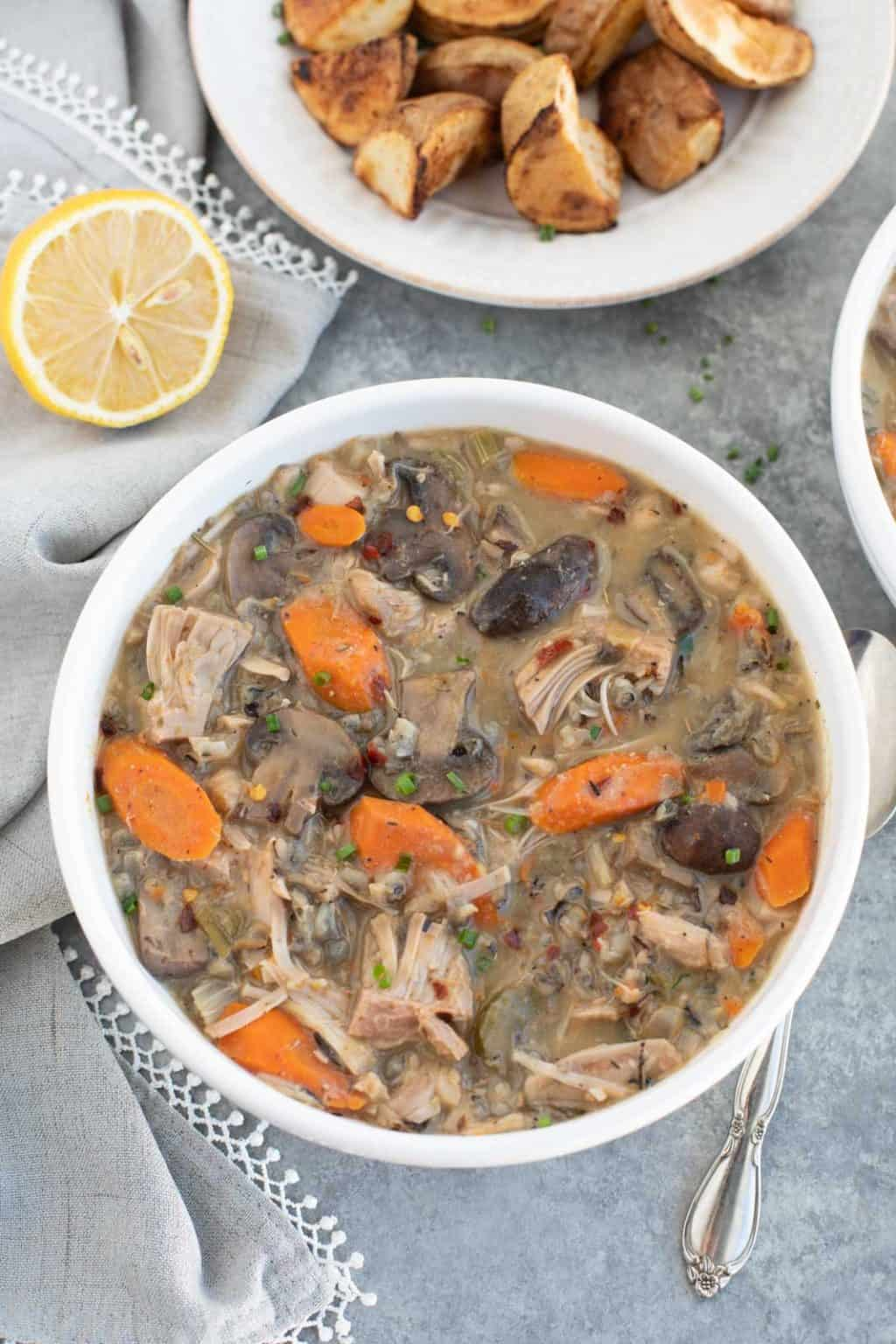 Slow cooker vegan chicken wild rice soup