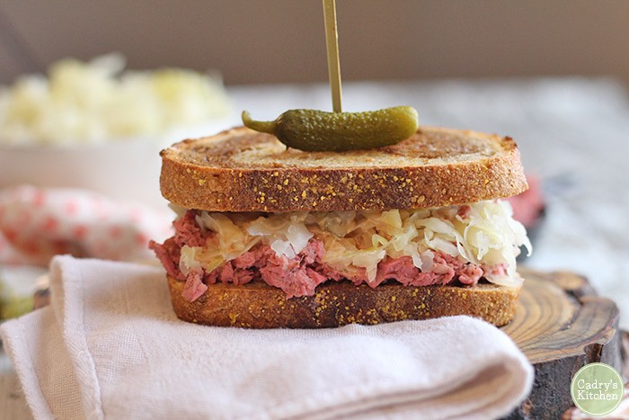 Vegan reuben jackfruit sandwich