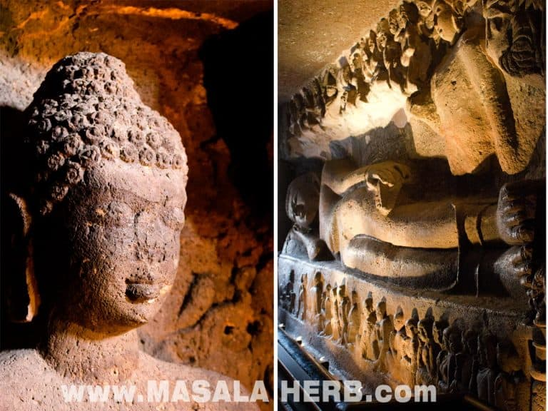 indoor sculptures and dieing/sleeping buddha of cave 26 Ajanta Caves - The Lost World - Breathtaking Ancient Indian Paintings & Sculptures www.MasalaHerb.com