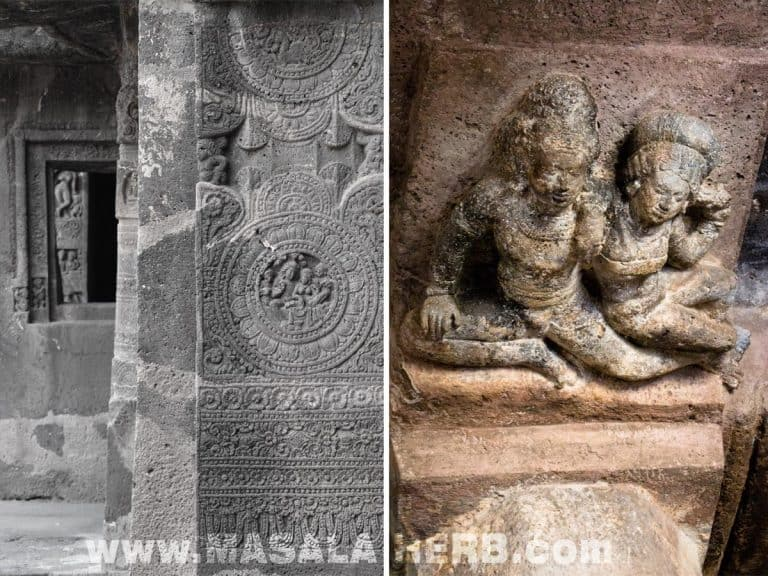 outdoor and indoor sculptures in Ajanta Caves - The Lost World - Breathtaking Ancient Indian Paintings & Sculptures www.MasalaHerb.com