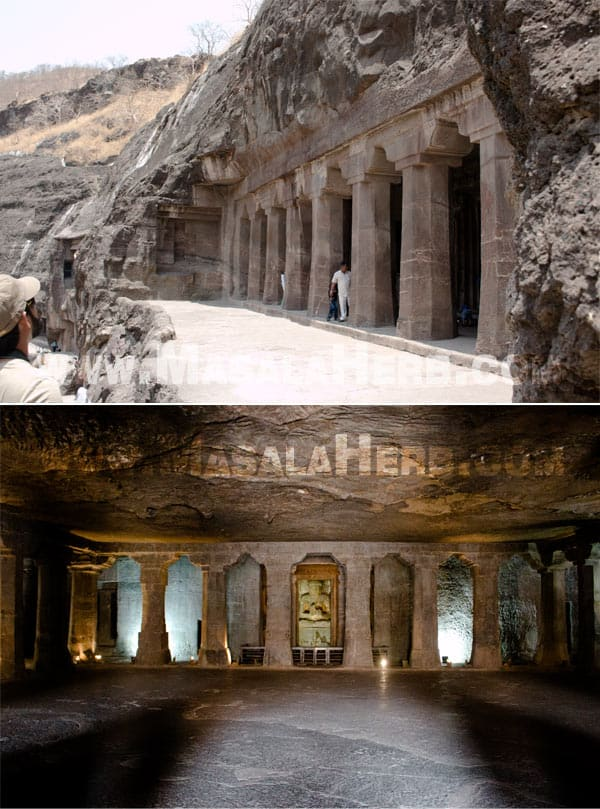 from outside and sanctuary and buddhist prayer hall form inside - Ajanta Caves - The Lost World - Breathtaking Ancient Indian Paintings & Sculptures www.MasalaHerb.com