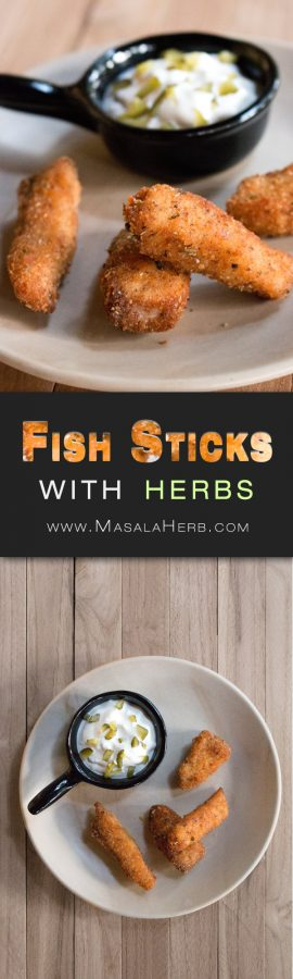 Fried Fish Sticks Recipe with fresh Fish Fillet and Herbs