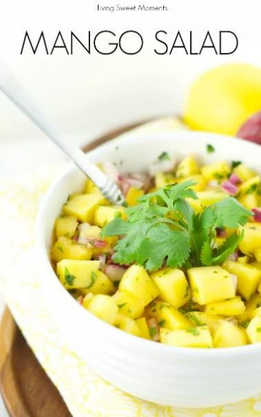 21 Food & Drink Ideas to beat the Steaming Hot Summer in India collection roundup with handpicked recipes by www.MasalaHerb.com --- Mango Salad