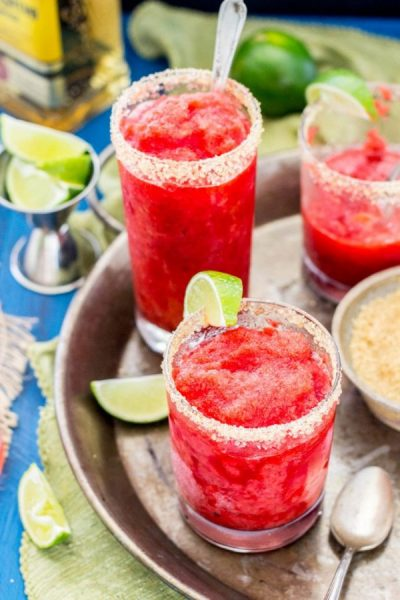 21 Food & Drink Ideas to beat the Steaming Hot Summer in India collection roundup with handpicked recipes by www.MasalaHerb.com --- Strawberry Margarita Granita