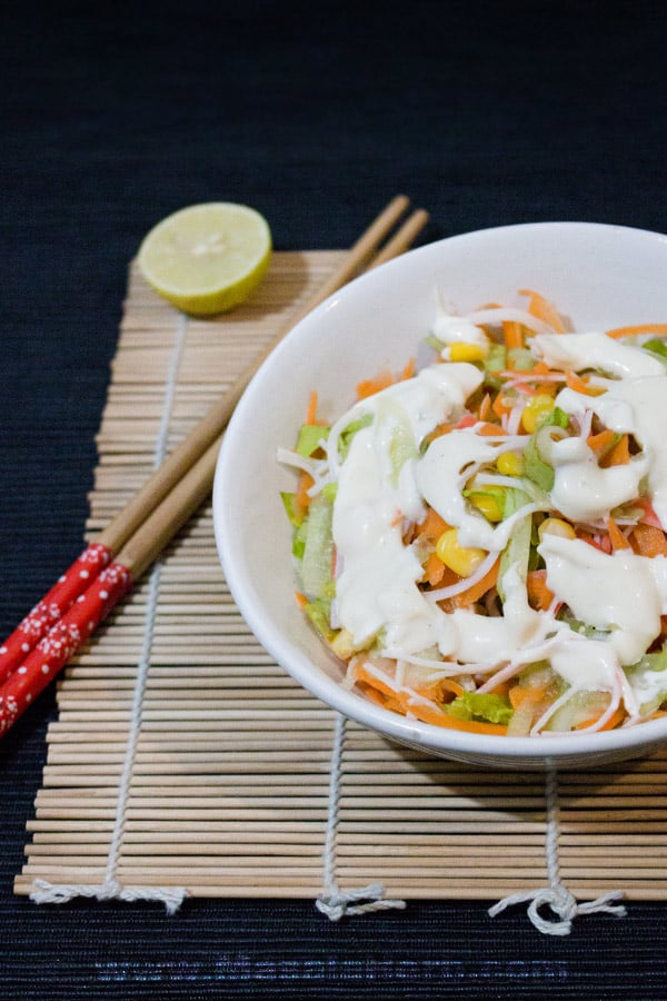Kani Salad - How to make Kani Salad - japanese crab salad with carrot, cucumber, lettuce corn and mayo dressing. nutritious salad with protein seafood easily made at home www.MasalaHerb.com