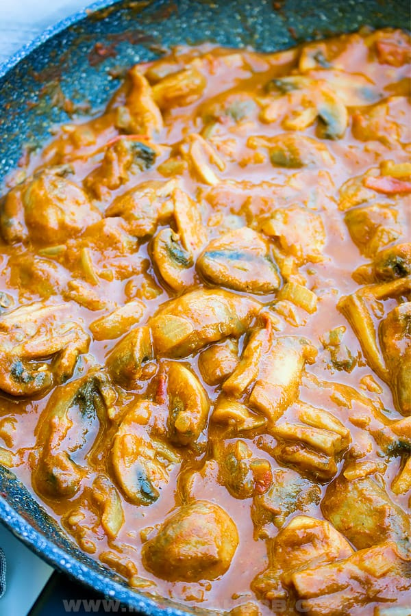 tikka masala mushroom close up image