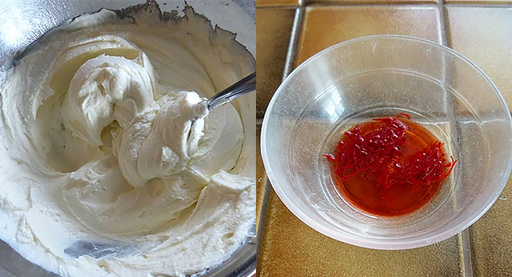 Mix yogurt smooth. Soak saffron strings in water