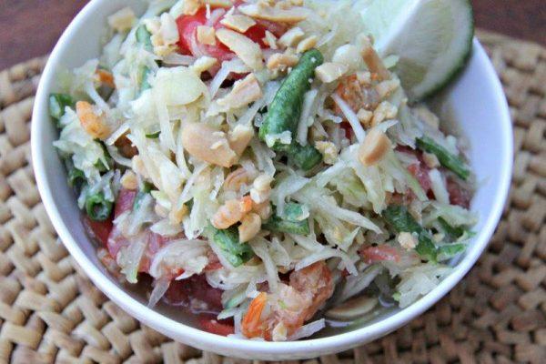 10+ Papaya Recipes that will make you want to have more! - Mekong Inspired Green Papaya Salad Recipe - Roundup Collection at www.MasalaHerb.com