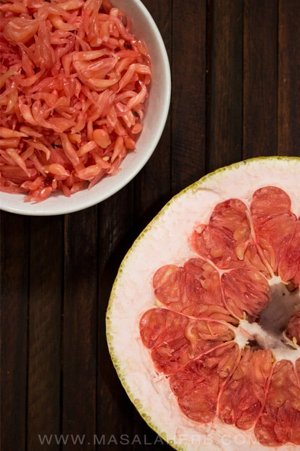 Pomelo Fruit Smoothie - What is Pomelo, Pummelo, Pomello [How to open + eat it] - the biggest natural citrus fruit in the world and stuffed with health benefits, a pomelo can weigh 2 kgs. www.MasalaHerb.com