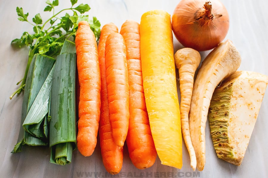 root vegetables to make clear broth soup