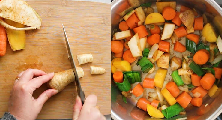 cut vegetables and saute