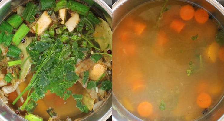 add water and spices, cook soup