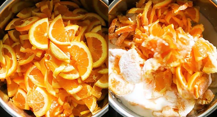 orange clieces and sugar