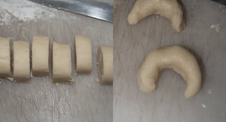 shaping vanilla crescent cookies