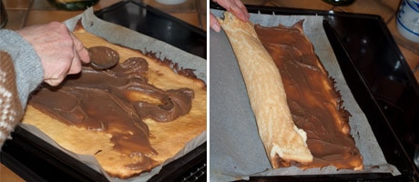 Easy Yule Log Recipe - Christmas Bûche de Noël Cake [French] with step by step picture tutorial to make the yule log easily at home. decorate the buche the noel to your liking with icing sugar and marzipan almond paste. This is our french family recipe! www.MasalaHerb.com #christmas #cake #yulelog #french