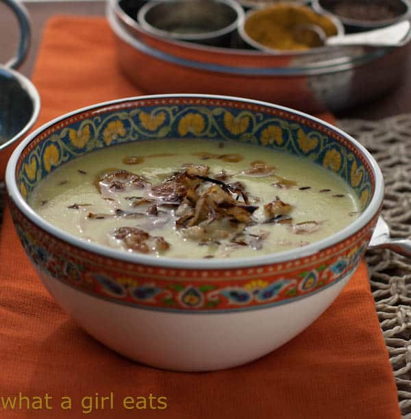 +15 Indian Cauliflower Recipes - Curried Cauliflower Soup With Crispy Onions