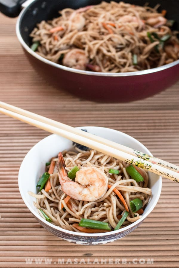 15 min Shrimp Chow Mein Recipe - Easy Chinese One-Pot Noodle How to [+Video] make prawn hakka noodles f rom scratch and best practice to prepare the popular chinese noodle take out easily at home www.MasalaHerb.com