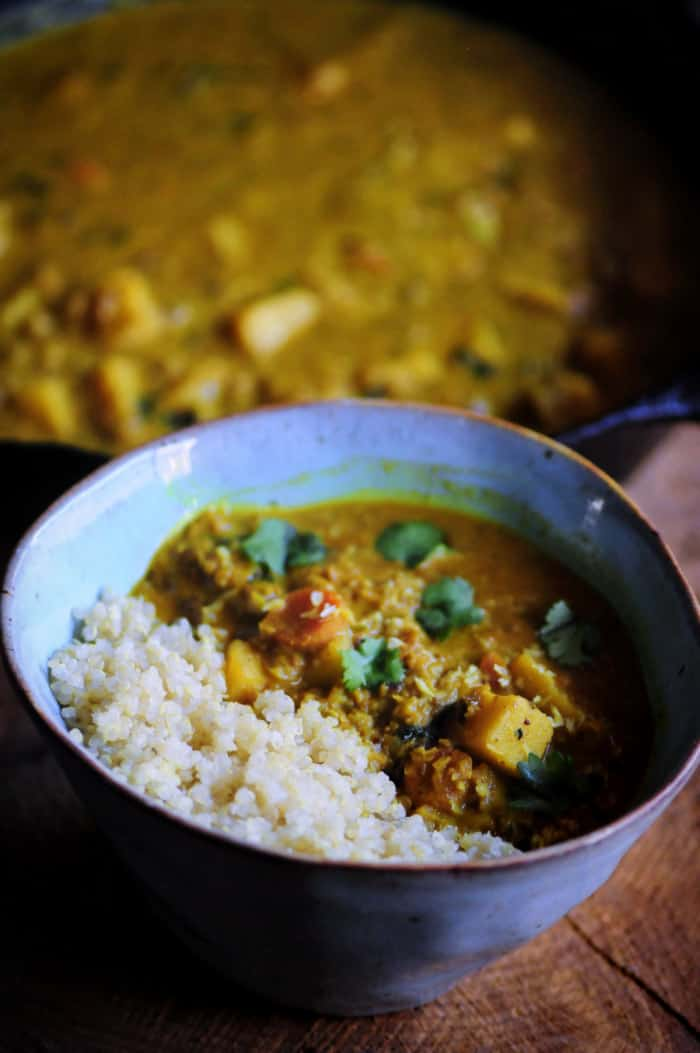 +15 Indian Cauliflower Recipes - Sweet Potato and Cauliflower Rice Coconut Curry