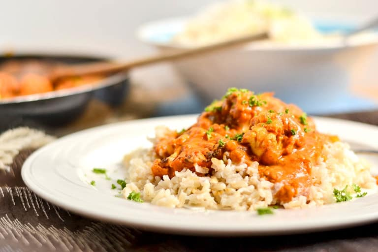 "+15 Indian Cauliflower Recipes - Vegan Indian ""Butter"" Cauliflower with Coconut Brown Rice"