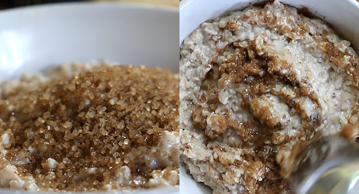sprinkle with brown sugar and mix