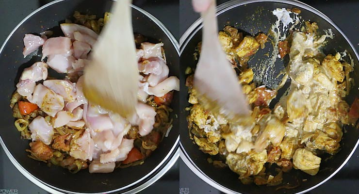 Stir in chicken. Season with fenugreek and pour in tomato sauce and cream.
