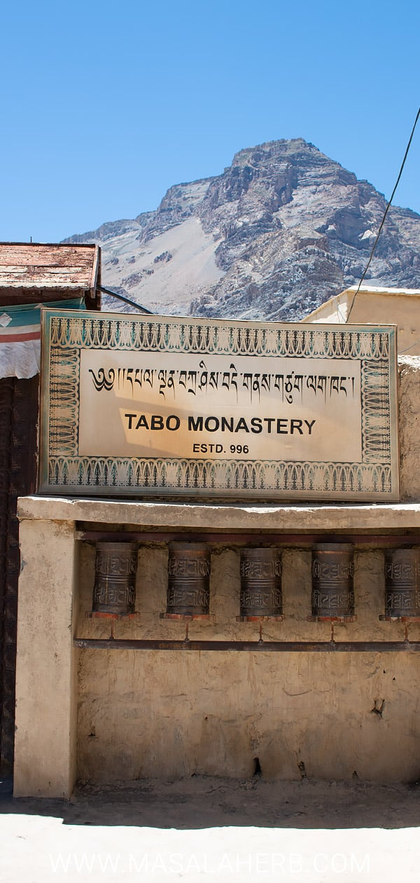 Tabo Monastery in Spiti Himachal Pradesh - Ancient Buddhist Temple Himalayas India. Travel roardtrip in the himalayan highlands near the tibet border. sustainable travel www.masalaherb.com #spiti #himalayas #roadtrip