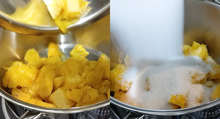 Cut pineapple into chunks and place with sugar in large pan.