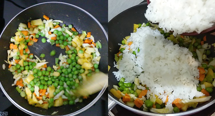 Heat up a shallow deep pan and stir fry veggies and pineapple. Stir rice in.