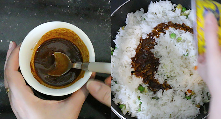 Prepare stir fry sauce and pour over rice in the pan.