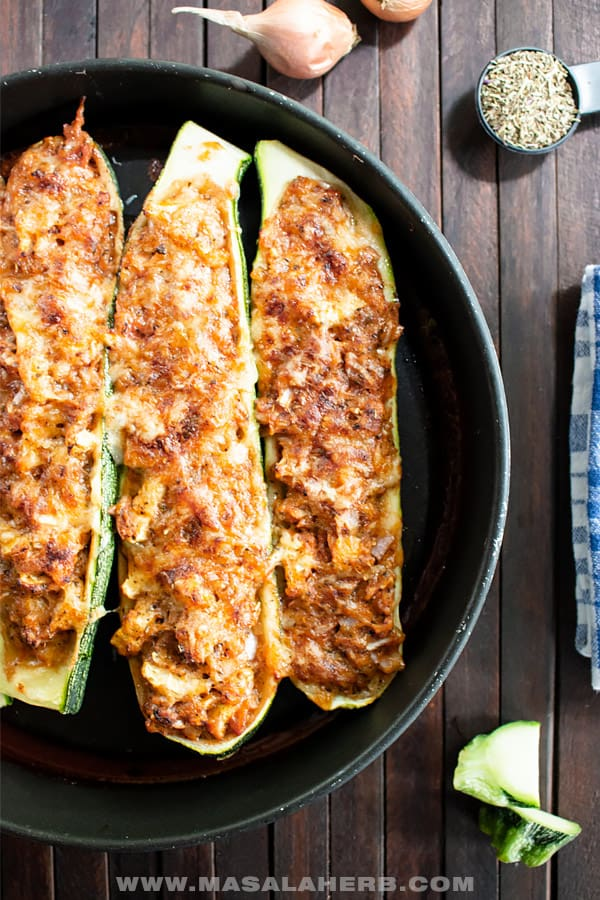 zucchini boats stuffed bird view