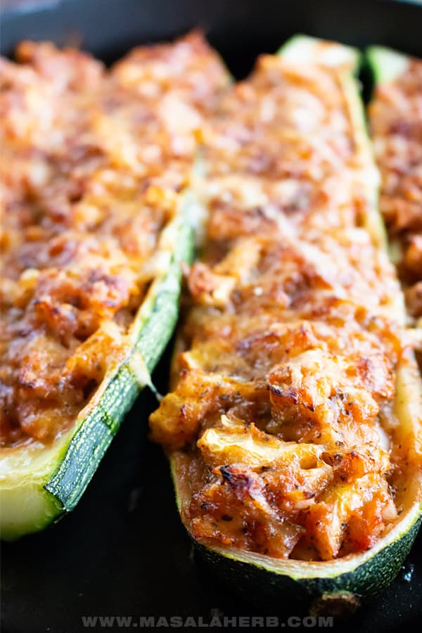 zucchini boats close up baked