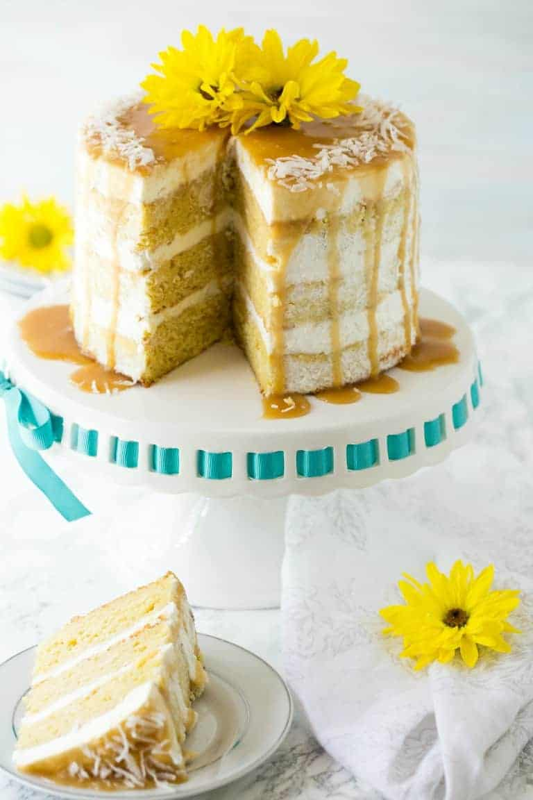 Mango Cake with Coconut Caramel Drizzle