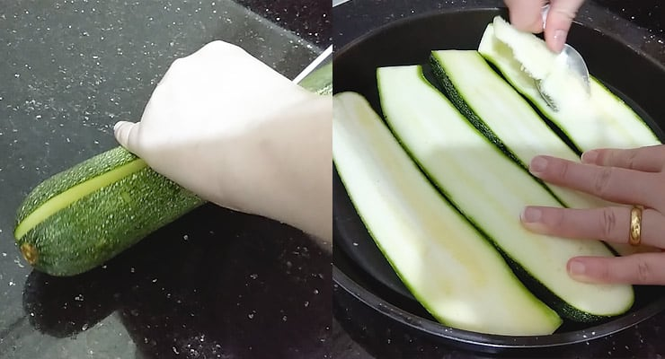 cut zucchini lengthwise and hollow out