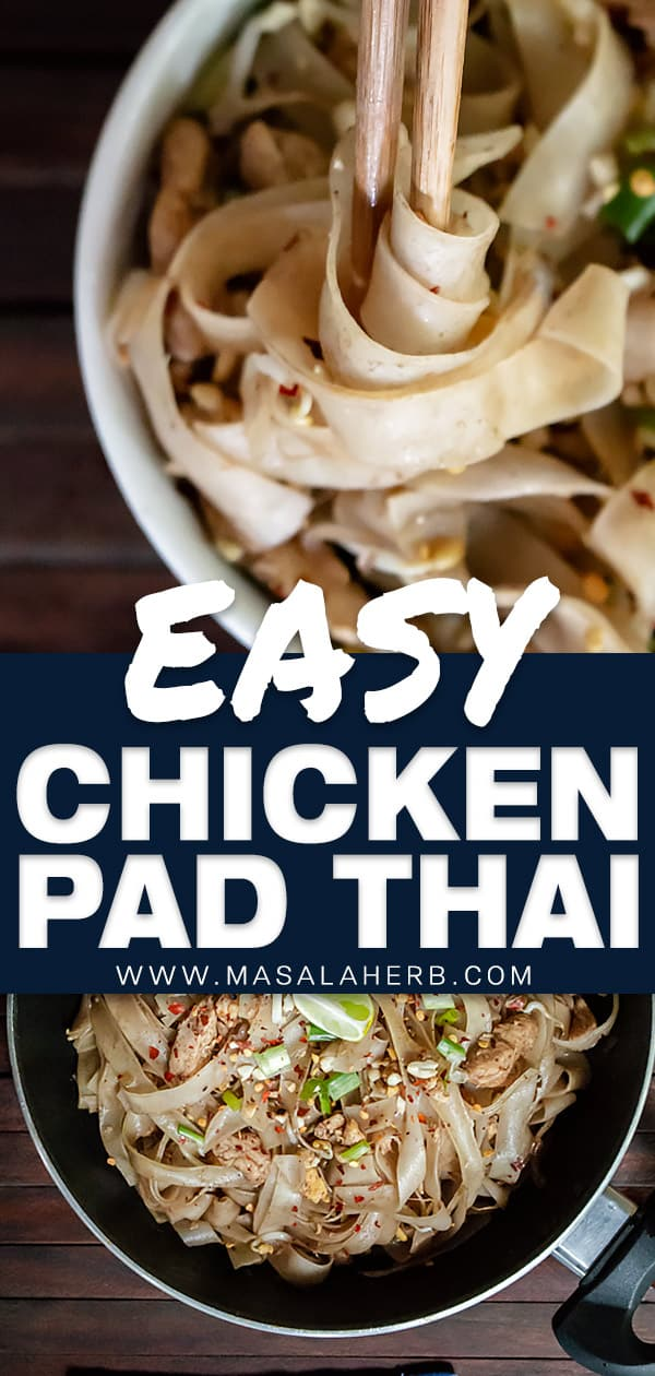 Easy Chicken Pad Thai Recipe [One-Pan]
