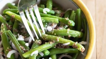 Cold Green Bean Salad with French Mustard Vinaigrette Dressing
