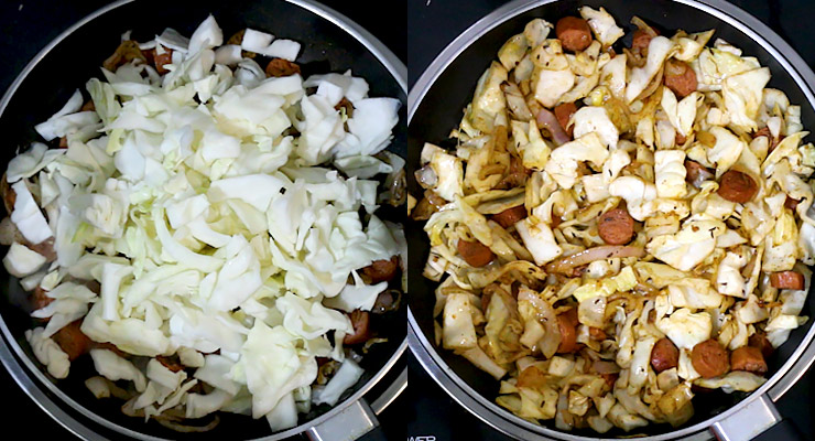 stir in cabbage and mix