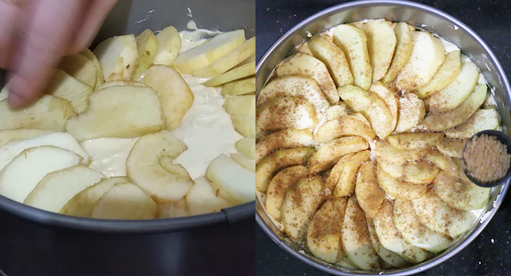 pour batter into mold and arrange apple slies over that