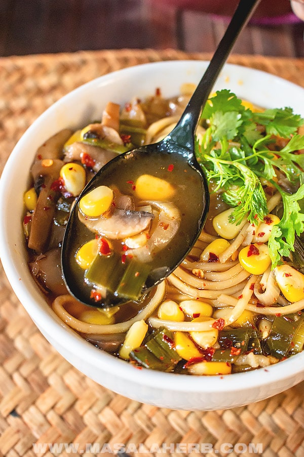 Easy Hot and Sour Soup with Noodles and Sweet Corn