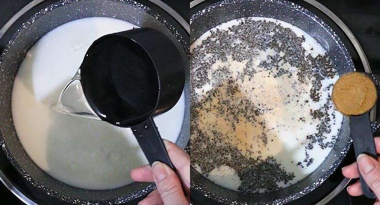 Heat up milk with water. Add tea powder and the pumpkin spice blend.