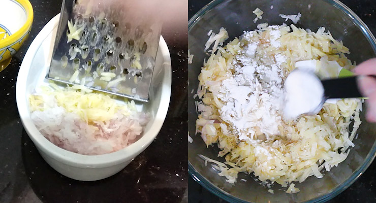 Shred potatoes and onion. Add salt, black pepper, flour and nutmeg to your shredded potato and onion.