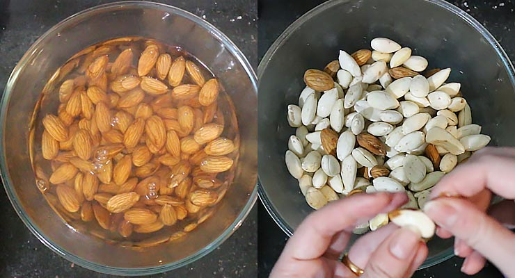 Soak almonds and peel.