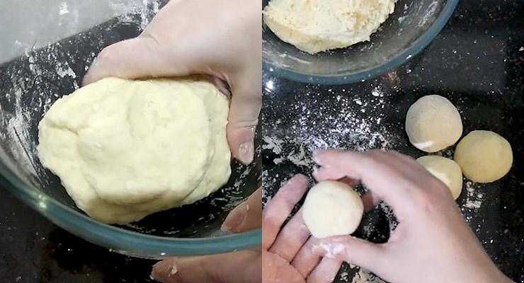 Combine to a smooth dough. Shape into balls.