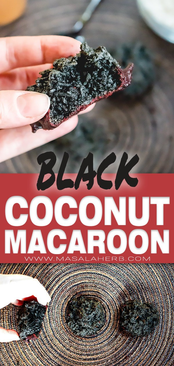 Black Coconut Macaroons with Chocolate [Halloween Cookies]