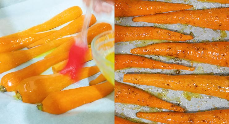 Baste carrot with butter and season
