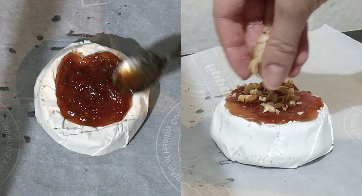 spread jam over brie and sprinkle with nuts