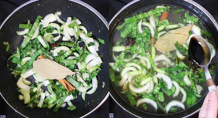 saute onion garlic ginger and bok choy. add stock and seaosning