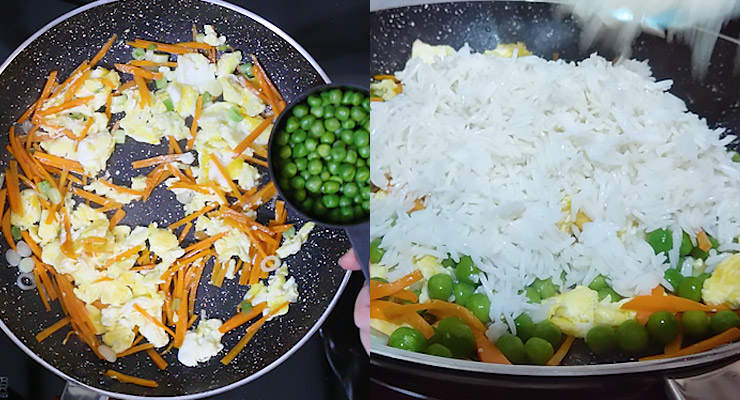 Break-in egg and cook and cut into pieces. Mix it up. Add green peas and cooked rice.