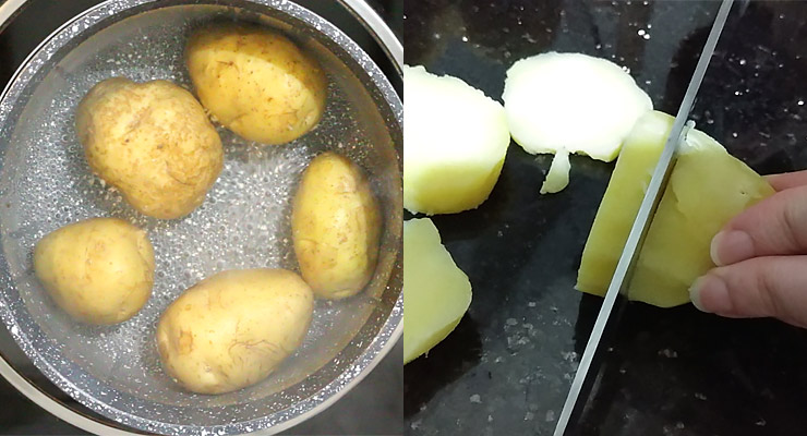 boil potatoes and slice